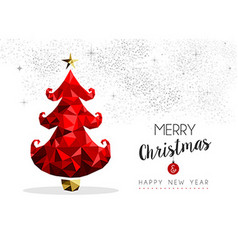 Christmas tree in red for season greeting card vector image