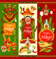 Cinco de mayo banner for mexican party invitation vector