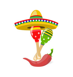 Cinco de mayo fun holiday sombrero maracas and vector
