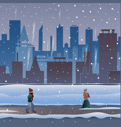 city in the snow people go through a snowstorm vector image