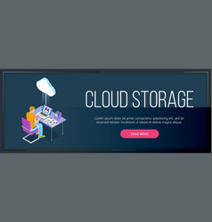 cloud storage banner 01 vector image