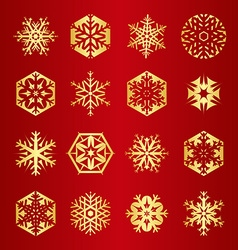 Collection of 16 golden snowflakes vector