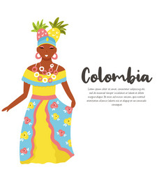 colombian woman in traditional costume with fruits vector image