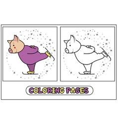 coloring piggy - skater vector image