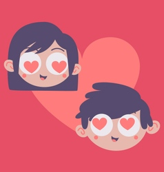 Couple Heads Inside Heart vector image vector image