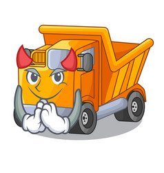 devil truck on highway road with mascot vector image