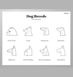 Dog breeds icons line pack vector