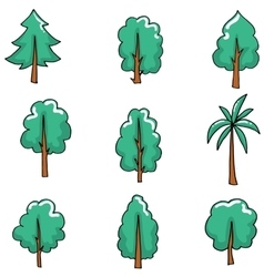 Doodle set of tree art vector