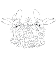 Easter cake and eggs vector image vector image