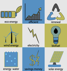 Eco energy icon set vector