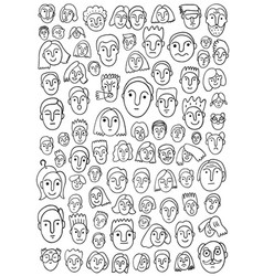 Faces of people - doodle set vector