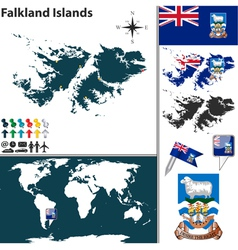 Falkland Islands map world vector image