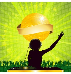 female DJ with disco ball and banner vector image