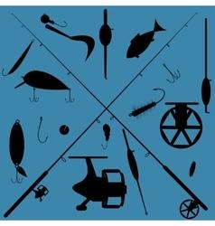 Fishing equipment set vector