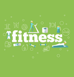 fitness flat poster vector image