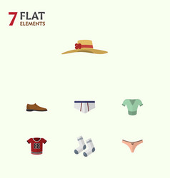 Flat clothes set of foot textile lingerie vector
