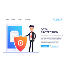 flat file protection concept protect your files vector image