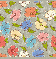 Floral print seamless pattern botanical ornament vector