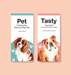 flyer template with dogs design vector image