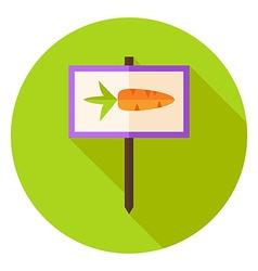Garden Sign with Carrot Circle Icon vector image