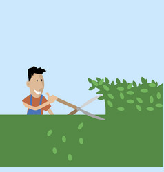 gardener cuts trees with shears vector image