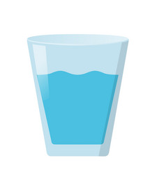 Glass of water flat on white vector