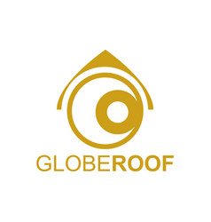 globe roof logo concept design template in gold vector image