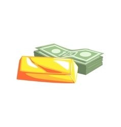 Golden bar and pack of dollars vector