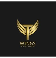 Golden T letter logo vector image