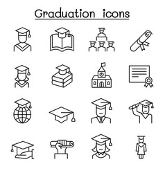 graduation icon set in thin line style vector image