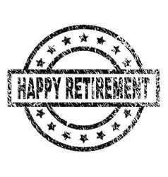 Grunge textured happy retirement stamp seal vector