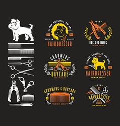 Hairdresser for dog Badges and design elements vector image