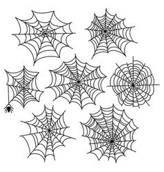 Halloween spider web set cobweb decoration vector