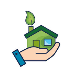 Hand with house with ecological leaf to vector