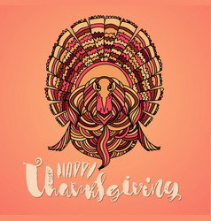 handwritten thanksgiving lettering happy vector image