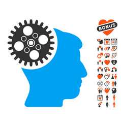 Head gearwheel icon with lovely bonus vector