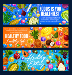 Healthy eating banners fruits and grocery veggies vector