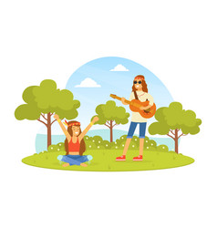 hippie characters on summer nature landscape vector image