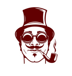 hipster with mustache smoking pipe stylish vector image