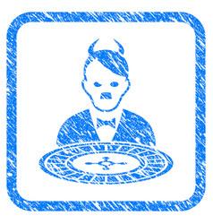 Hitler devil roulette croupier framed grunge icon vector