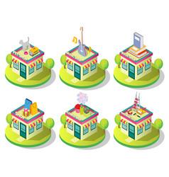 isometric city shop building icon set vector image