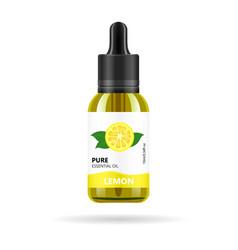 Lemon oil in glass jar packaging design vector