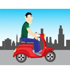 Man goes on scooter vector image