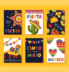 mexican fiesta card set festival decoration and vector image