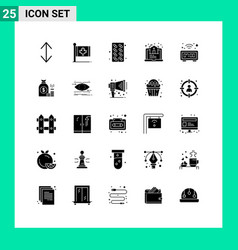 Modern set 25 solid glyphs pictograph of vector