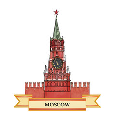 Moscow kremlin tower red square travel russia sign vector
