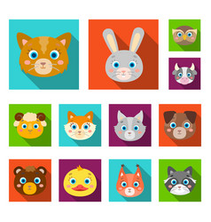 Muzzles of animals flat icons in set collection vector
