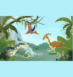 nature landscape with prehistoric dinosaurs vector image
