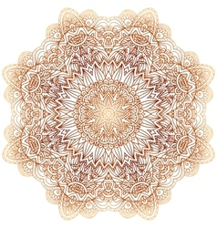 Ornate vintage beige doodle circle pattern vector image