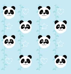 Panda head pattern on a blue background vector